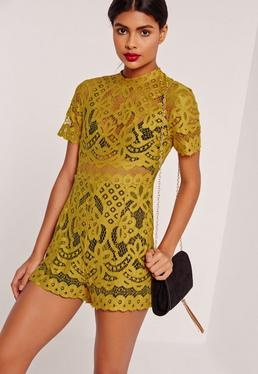 Lace High Neck Playsuit Yellow