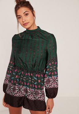Green High Neck Silky Scarf Print Playsuit