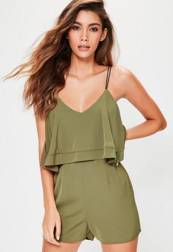 Khaki Strappy Double Layer Cami Playsuit