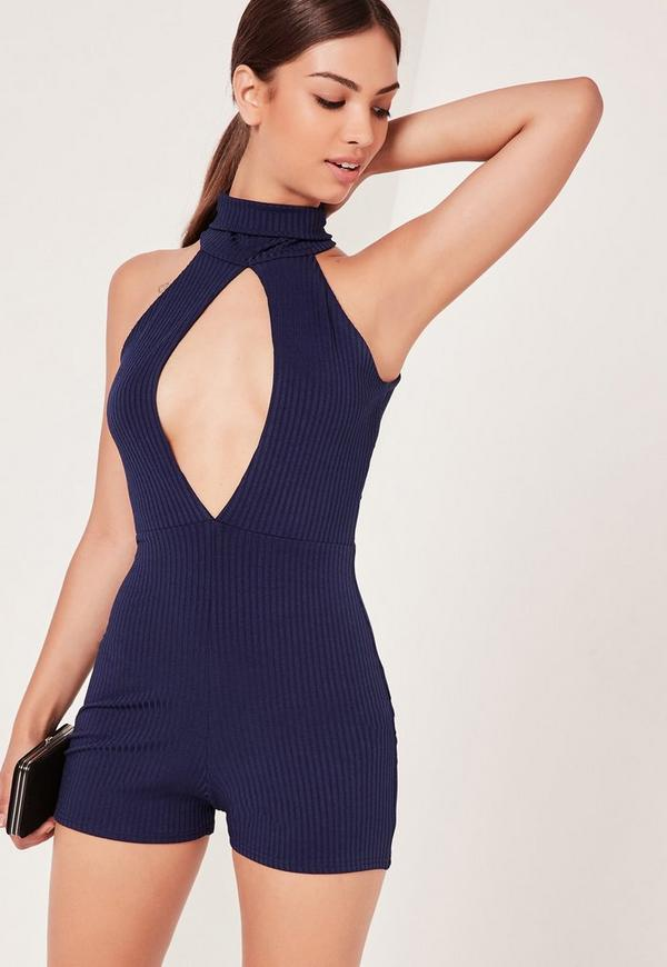 Ribbed Split Front Playsuit Navy