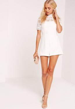 Lace Crepe Short Sleeve Playsuit White