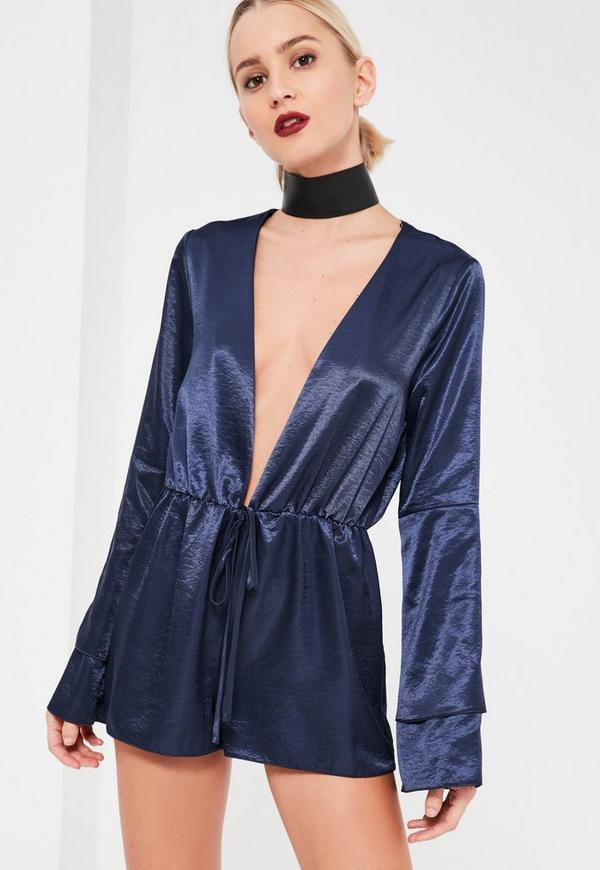 Navy Silky Plunge Double Layer Arm Detail Playsuit