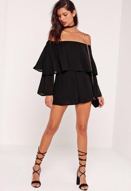 Double Layer bardot playsuit black