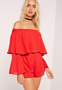 Red Double Layer Bardot Romper