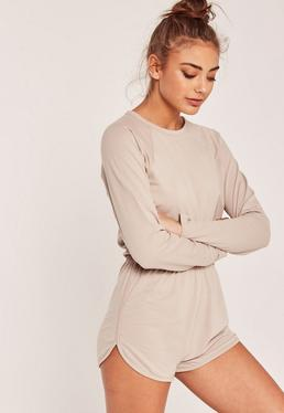 Jersey Curved Hem Short Playsuit Nude