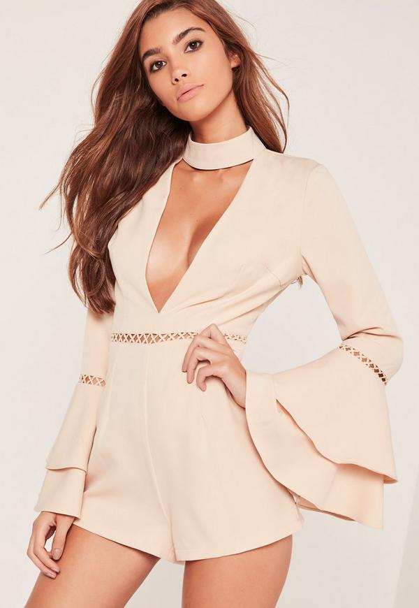 Frill Detail Choker Detail Playsuit Nude