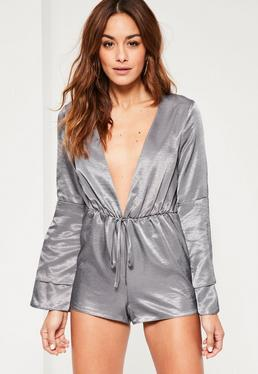 Grey Silky Plunge Neck Double Layer Romper
