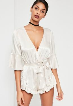 White Silky Flutter Short Detail Playsuit