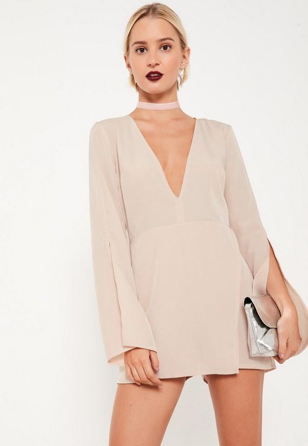 Nude Crepe Split Sleeve Asymmetric Playsuit