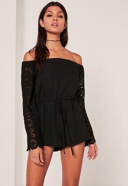 Lace Sleeve Bardot Playsuit Black