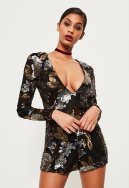 Premium Black Floral Sequin Romper