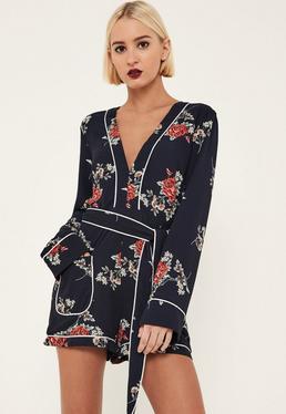 Navy Floral Binded Pyjama Style Playsuit