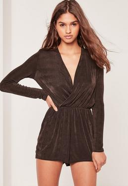 Slinky Wrap Romper Brown