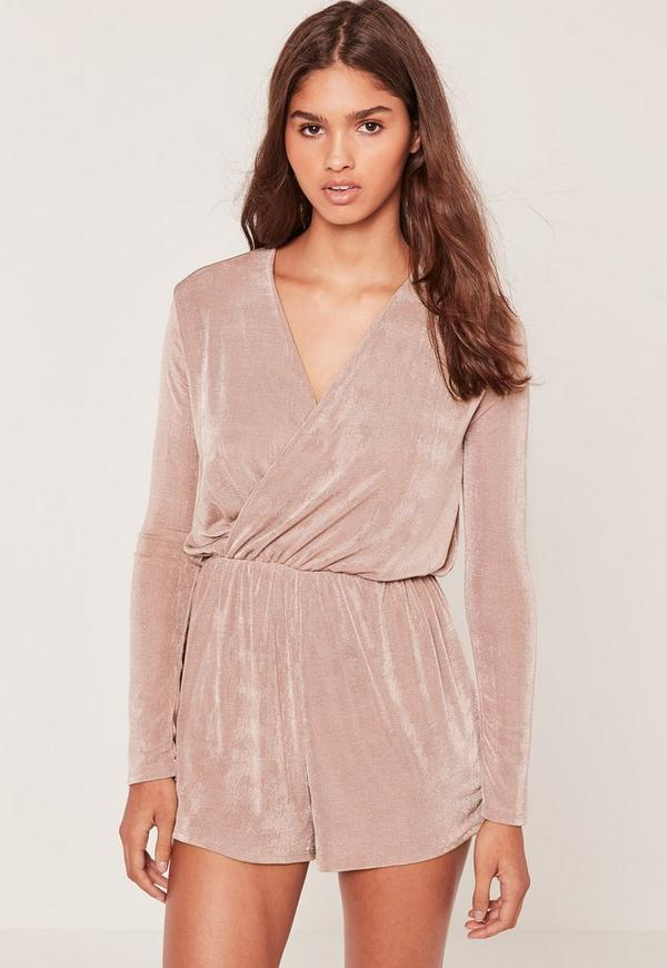 Slinky Wrap Playsuit Pink