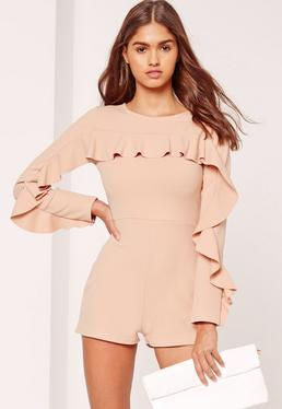 Crepe Frill Detail Playsuit Nude
