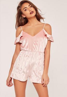 Pleated Velvet Frill Cold Shoulder Sleeve Playsuit Pink