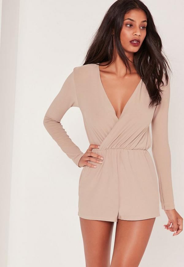 Wrap Front Crepe Playsuit Nude