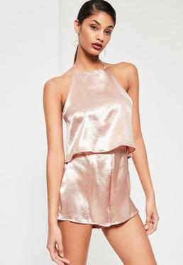 Pink Double Layer Halterneck Satin Playsuit