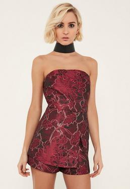 Combishort jupe motif jacquard rose