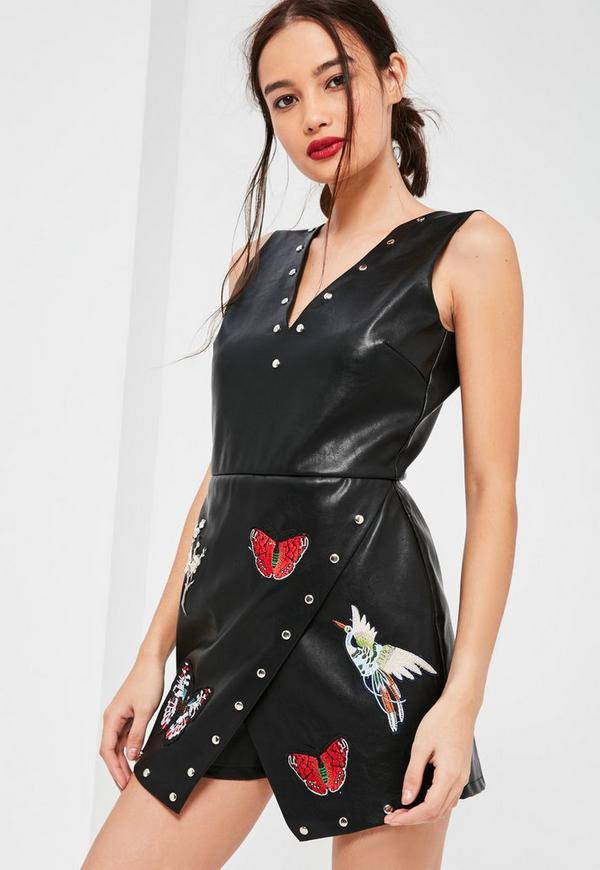Black Faux Leather Stud Badge Embroidered Playsuit