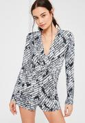 Grey Slinky Wrap Snake Print Playsuit
