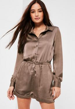 Brown Satin Shirt Romper