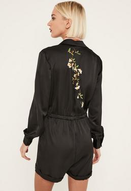 Black Embroidered Back Satin Shirt Playsuit