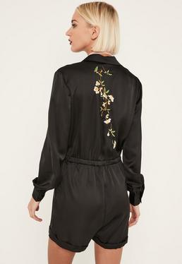 Black Embroidered Back Satin Shirt Romper