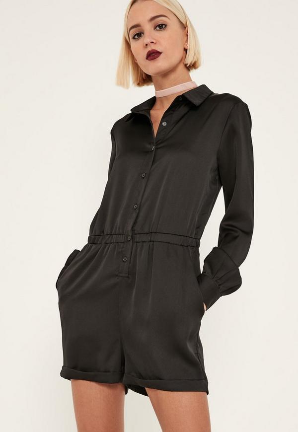 73aaebb7d59 Black Embroidered Back Satin Shirt Playsuit