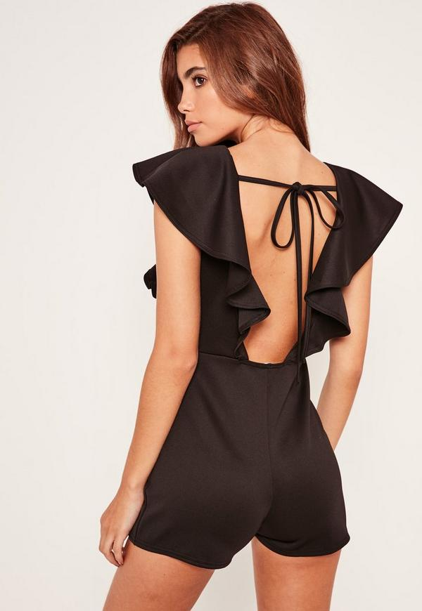 Scuba Frill Sleeve Backless Playsuit Black