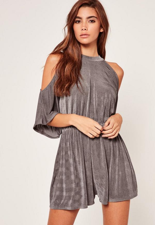 Cold Shoulder Ruched Waist Slinky Playsuit Grey