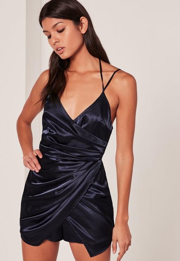 Navy Silky Ruched Asymmetric Playsuit