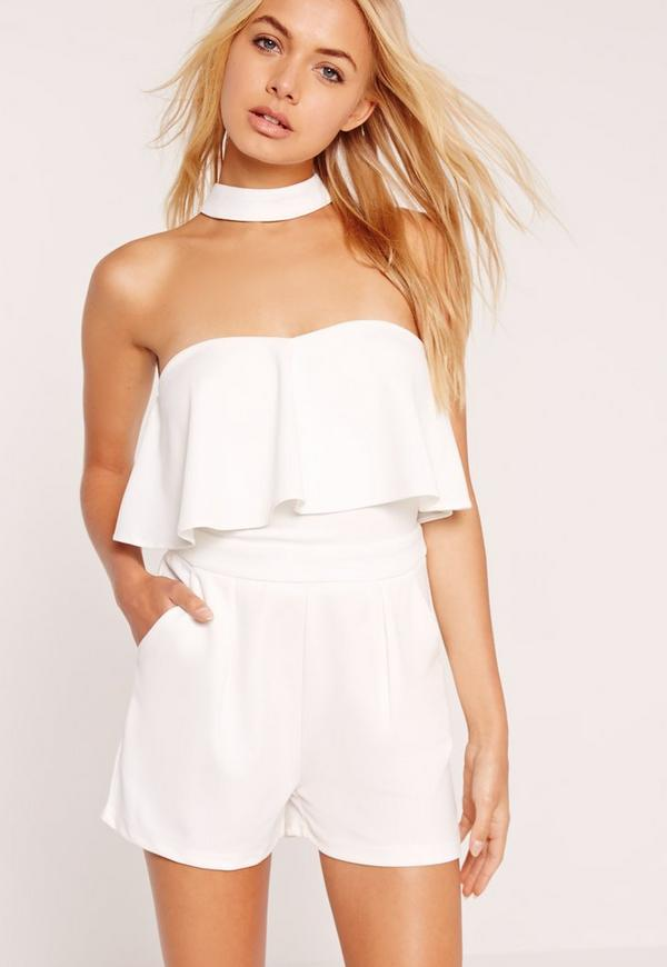 White Choker Neck Frill Bandeau Playsuit