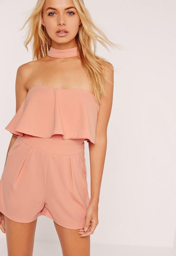 Pink Choker Neck Frill Bandeau Playsuit