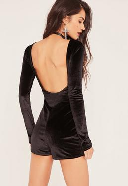 Black Low Back Long Sleeve Velvet Playsuit