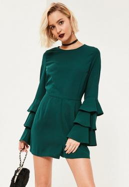 Green Triple Frill Sleeve Playsuit
