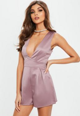 Purple Heavy Satin Plunge Sleeveless Playsuit
