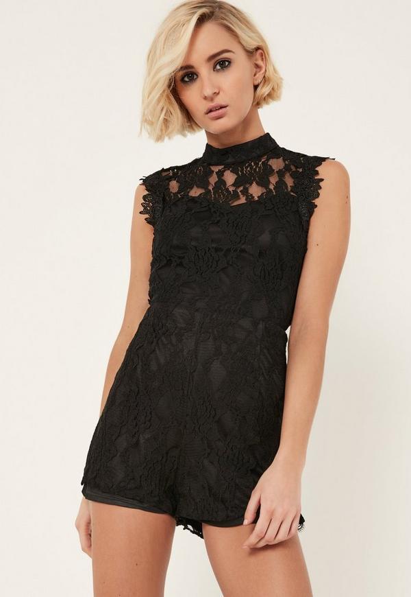 Black High Neck Sleeveless Lace Playsuit