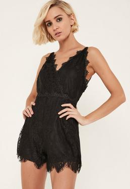 Black Strappy Wrap Lace Playsuit