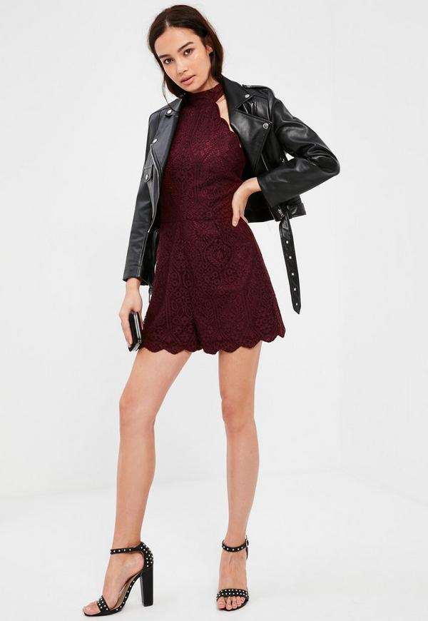 Burgundy Scallop Lace High Neck Playsuit