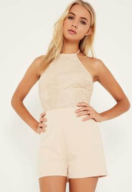 Nude Lace Mesh Top Halterneck Playsuit