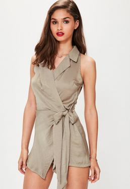 Taupe Sleeveless Knot Front Wrap Silky Shirt Romper