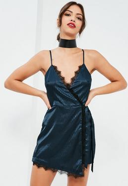 Navy Satin Stripe Lace Trim Wrap Playsuit