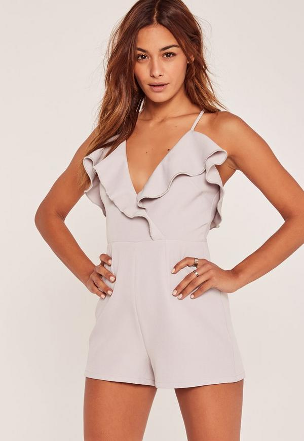 Grey Frill Wrap Strappy Playsuit