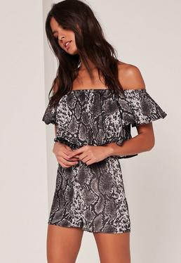 Snakeprint Frill Layered Bardot Playsuit