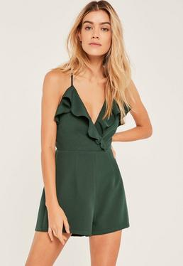 Green Frill Wrap Strappy Playsuit