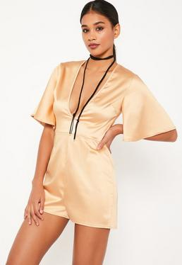 Nude Wide Sleeve Plunge Satin Playsuit
