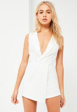 White Satin Lapel Wrap Sleeveless Blazer Playsuit