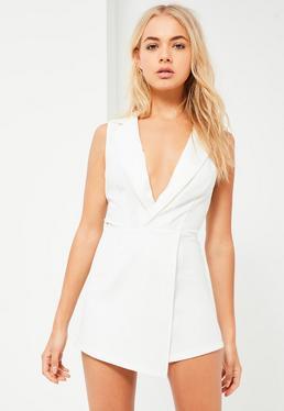 White Satin Lapel Wrap Sleeveless Blazer Playsuit