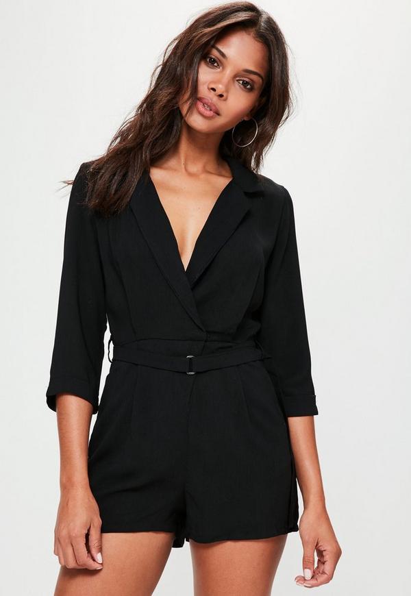Black Wrap Blazer Playsuit Missguided